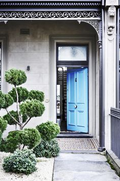 A Bright Blue Front Door Promises Something Special Inside This Victorian Terrace In Where A Modern Rear Extension Brings A Whole New Dimension To The Home. Photograph: Derek Swalwell Australian House and Garden Terraced House, Modern Victorian, Victorian Homes, Victorian Terrace House, Terrace House Exterior, Hamptons Style Homes, Beautiful Front Doors, Interior Design Photography, Architecture Design