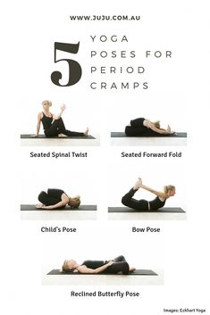 Try these 5 poses to ease cramps and tension during your period. #yoga