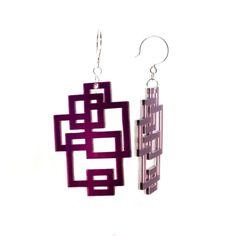 purple laser cut earrings