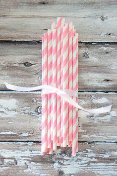 Bubble gum pink paper straws