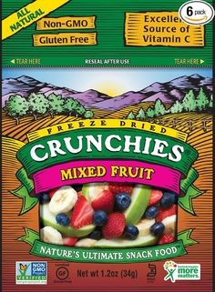 Crunchies Freeze-Dried Fruit Snack, Mixed Fruit, 1.2-Ounce Pouches (Pack of 6)