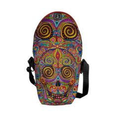 Shop Colorful Sugar Skull Art Mini Messenger Bag created by thaneeyamcardle. Custom Messenger Bags, Mini Messenger Bag, Sugar Skull Art, Sugar Skulls, Hippie Bags, Pack Your Bags, Online Bags, Vera Bradley Backpack, Beautiful Bags