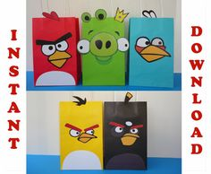 Make your party Pop-out with these adorable Angry Birds Favor Bags Designs!! They are super easy to assemble. All you have to do is: Download, Print, Cut & Glue! The kids will love them! You may print as many as you need. This File includes 5 birds design bags: - A page w/ 2 Red