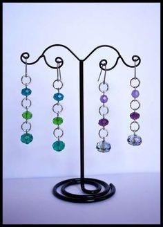 Pendientes con abalorios: Fotos ideas DIY - Pendientes largos con piedras de colores