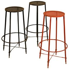 Set of Three Mathieu Mategot Bar Stools, circa 1950, France | From a unique collection of antique and modern stools at https://www.1stdibs.com/furniture/seating/stools/