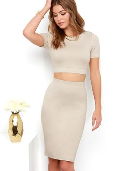 Clean Cut-Out Beige Two-Piece Dress at Lulus.com!