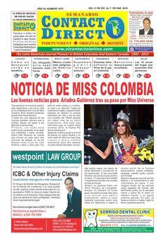 Semanario contacto directo edicion 1 de enero 2016  PERIODICO CONTACTO DIRECTO EDICION 1 DE ENERO 2016 VANCOUVER CANADA