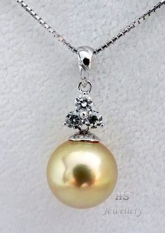 HS Rare #Golden South Sea Cultured #Pearl 13.6mm & #Diamonds .45ctw 18KWG #Pendant #Jewelry #Christmas #Anniversary