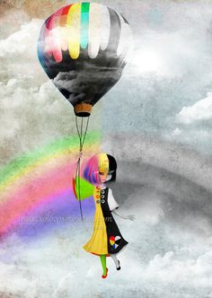 """""""Causing a Stir"""" Hot Air Balloon Girl Two Tone Rainbow B&W - Giclee Print on fine art archival paper