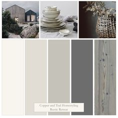 The simple grey tones of this colour board include Farrow and Ball's easy neutrals and Down Pipe. I have created a colour palette that will work perfectly with the natural elements of a rustic retreat. Rustic Color Schemes, Rustic Color Palettes, Vintage Colour Palette, Bedroom Colour Palette, House Color Schemes, Rustic Colors, Bedroom Color Schemes, House Colors, Grey Color Schemes