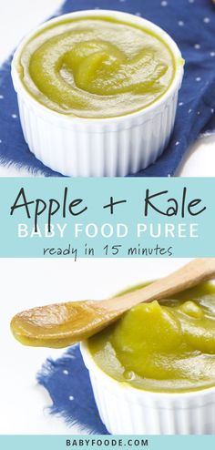 This smooth and sweet Apple and Kale Baby Baby Food Puree is a fun and easy way to introduce mighty kale to your little one! This easy stage 1 puree requires just 2 ingredients, and is a delicious starter puree that baby will love! Great for babies 6 Baby Puree Recipes, Pureed Food Recipes, Baby Food Recipes, Baby Snacks, Kid Snacks, Apple Baby Food, Food Baby, Apple Puree For Baby, 7 Month Old Baby Food