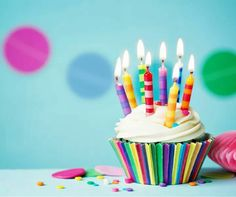 Colorful birthday cupcake with single candle ,Birthday cupcake. Colorful birthday cupcake with single candle , Best Happy Birthday Message, Best Birthday Quotes, Happy Birthday Girls, Happy Birthday Images, Happy Birthday Wishes, Birthday Greetings, It's Your Birthday, Cupcake Rosa, Todays Birthday