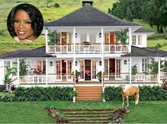 This is Oprah's farmhouse in Hawaii. She once considered tearing it down, but decided that she could remake the home to her specifications. She enjoys sitting on the porch and looking at the beach.