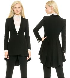 New Women Ladies elegant flared Black Lapel suit swallow tailed coat Outerwear #VUVI #BasicCoat