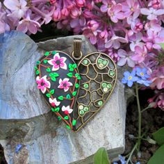 polymer heart ready to ship jewelry autumn boho fashion style trendy gift for her nice vintage flower pendant by FloralFantasyDreams