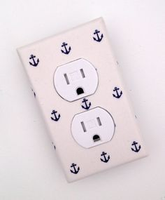 Items similar to Anchor Outlet Cover / Nautical Nursery Decor / Baby Boy / Bathroom / White and Navy Blue on Etsy