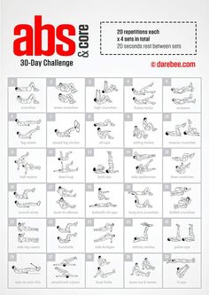 Abs & Core Challenge by DAREBEE is part of Ab workout challenge - Core Challenge, Abdo Challenge, 30 Day Challenge For Men, 30 Day Workout Challenge, Challenge Ideas, Crunches Challenge, Cardio Workout At Home, Abs Workout Routines, Abs Workout For Women