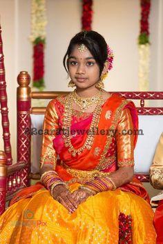 Latest Collection of best Indian Jewellery Designs. Half Saree Lehenga, Saree Dress, Lehenga Blouse, Sarees, Dress Skirt, Kids Saree, Kids Lehenga, Half Saree Designs, Saree Blouse Designs