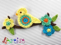 Crochet patches – Crochet Applique Embellishments Bird – a unique product by HomeArtist on DaWanda