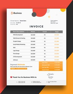 Today we have creative business invoice. This creative template is available in psd file for Photoshop. Invoice Template is also available in 4 Color Versions Invoice Layout, Invoice Design, Letterhead Design, Invoice Format, Brochure Design, Project Proposal Template, Business Proposal Template, Proposal Templates, Business Design