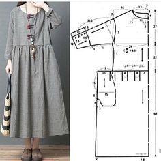 Maxi Dress Sewing PDF Pattern - Womens Maxi Dress Pattern - Maxi Dress patterns for Women Dress Sewing Patterns, Clothing Patterns, Pattern Sewing, Free Pattern, Embroidery Patterns, Hand Embroidery, Fashion Sewing, Diy Fashion, Style Fashion