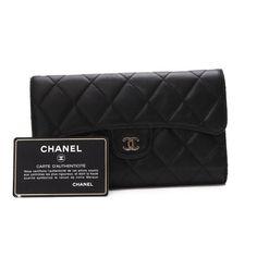 CHANEL   Matelasse Wallets Black Leather A31506