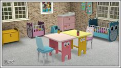 "Around the Sims 3 | Nursery Owl I needed a nursery that I could decline for multiple births (where each baby would have its own ""sign""), and that owl theme, though inspired from a real lunch box, suited to my plan. Changing table and desk can be used..."