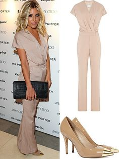 Mollie King's massive over-sized clutch and gold toe heels add all the drama and detail this winning outfit requires!
