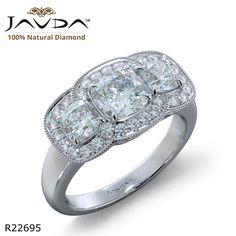 Milgrain Halo Three Stone Cushion Diamond Engagement Ring 14k White Gold.
