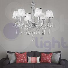 Lampadario sospeso design moderno acciaio cromo cristallo paralumi soggiorno