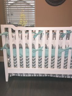 Gray and Aqua Elephant and Chevron Crib Bedding