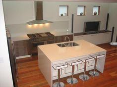 Polyurethane Kitchen With Stainless Draw Fronts Custom Kitchens, Commercial Kitchen, Joinery, Draw, Table, Furniture, Home Decor, Carving, Woodworking