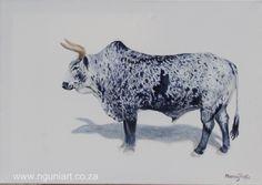 Nguni Bull, oil painting by Murray www.nguniart.co.za