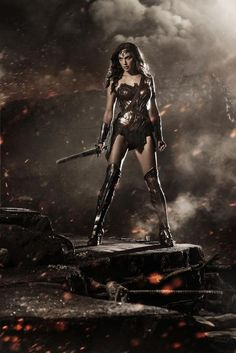 Not liking the heels, but over all I am impressed they actually made the rest of her look like a badass warrior. #WonderWoman #BatmanvsSuperman