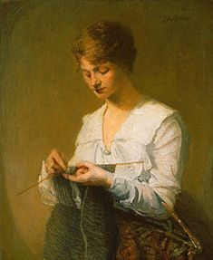 Knitting Painting - Knitting For Soldiers by Julian Alden Weir