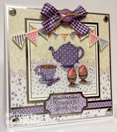 Crafty ideas by me Kitty Day. Ribbon Cards, Crafters Companion Cards, Halcyon Days, How To Make Tea, Bunting, Projects To Try, Card Making, Crafty, Holiday Decor