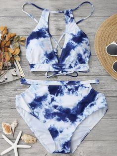 SHARE & Get it FREE | Cut Out Tie-Dyed High Waisted Bikini - Blue And White LFor Fashion Lovers only:80,000+ Items • New Arrivals Daily Join Zaful: Get YOUR $50 NOW!