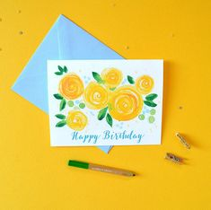 Pretty Yellow Blooms Birthday Card Happy Birthday by MospensStudio