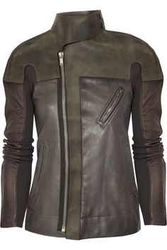 Leather and wool jacket by Rick Owens