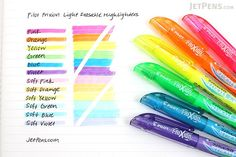"Pilot FriXion Light Soft Color Erasable Highlighter - 6 Color Set This ""Soft Color"" series features gentle, pale colors. These are great for emphasizing text without using fluorescent colors. Erasable Highlighters, Best Highlighter, Stabilo Boss, Jet Pens, Cute School Supplies, Soft Colors, Pastel Colors, Green Colors, Markers"