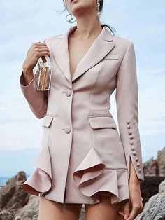 Nude Pink Notch Wide Lapel Ruffle Hem Blazer Women Cuff with Buttons Up Silm Pockets Front New Autumn Coat Blazers For Women, Coats For Women, Clothes For Women, Blazer Dress, Blazer Jacket, Pink Jacket, Blazer Suit, Fashion Details, Fashion Design