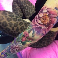 "Realistic peony flowers tattoo on girl left full sleeve"" - к Realistic Flower Tattoo, Peony Flower Tattoos, Peonies Tattoo, Tattoo Girls, Girl Tattoos, Tattoos For Women, Cover Up Tattoos, Leg Tattoos, Body Art Tattoos"