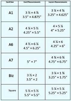 chart outlining the dimensions of various card styles and. Black Bedroom Furniture Sets. Home Design Ideas