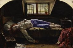 """""""Chatterton"""" by Henry Wallis 1856.  Thomas Chatterton (1752-70) was an 18th Century poet, a Romantic figure whose melancholy temperament and early suicide captured the imagination of numerous artists and writers."""