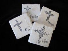 Crosses  Set of 4 Ceramic Tile Coasters by compassionfashion
