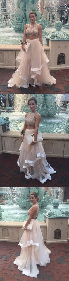 two piece long champagne prom dress, 2017 prom dress, party dress