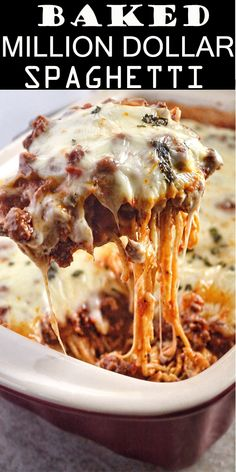 Million Dollar Spaghetti - Best Food Curation In The World Baked Spagetti, Spagetti Recipe, Baked Spaghetti Recipes, Baked Spaghetti With Ricotta, Best Spaghetti Recipe, Italian Recipes, Beef Recipes, Cooking Recipes, Recipies