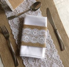 Hessian table runner with white lace over-lay and hessian napkin cuff with white lace by CliffsCushions (cliffscushions@gmail.com) Hessian Wedding, Wedding Bunting, Rustic Wedding Centerpieces, Wedding Decorations, Wedding Ideas, Hessian Table Runner, Table Runners, Vintage Lace, White Lace