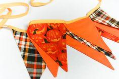 Halloween Bunting, Spooky Pumpkins Decoration, Fabric Banner, Garland with Jack-O-Lantern. $32.00, via Etsy.