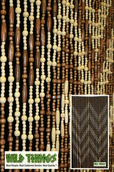 This curtain is AWESOME! We just CANNOT get over how cool this 36 wide x 72 long curtain looks. This wooden bead curtain totally reminds us of the beaded curtains of days long past. They are finished